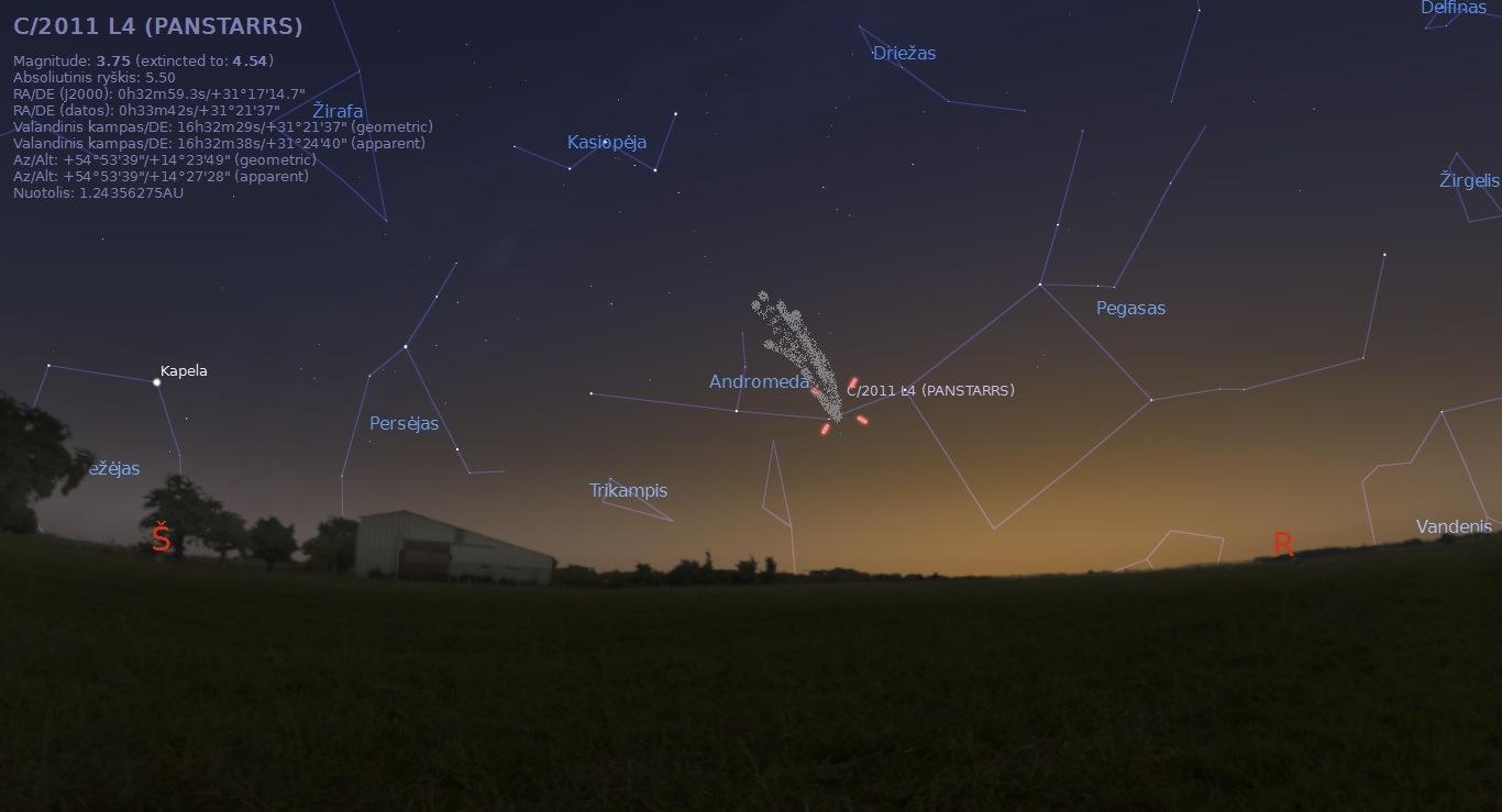 """Kometa C/2011 L4 kovo 28 d. paryčiais, Alkas.lt pav. (""""Stellarium"""")"""