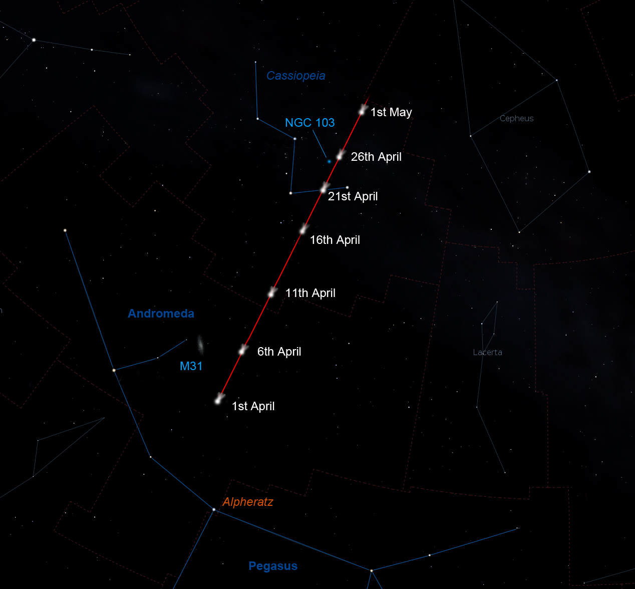 Kometos PanSTARRS kelias tarp žvaigždžių balandyje | (jb.man.ac.uk pav.) © GRYNAS