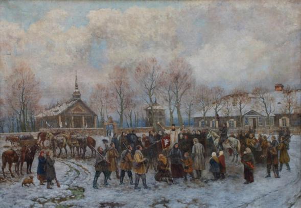 """Dail. Zigmo Petravičiaus paveikslas """"Kunigas A. Mackevičius laimina sukilėlius ir šventina jų vėliavas"""""""
