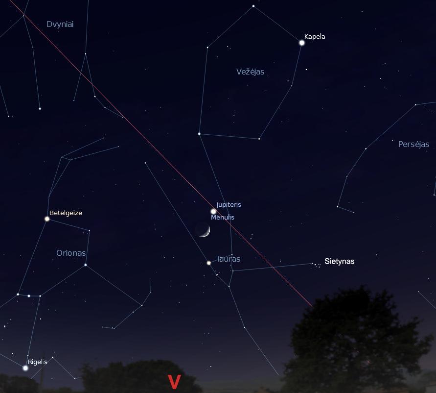 """Jupiterio susitikimas su Mėnuliu Tauro Žvaigždyne 2013 balandžio 14 d. 22 val. (piešinys sukurtas """"Stellarium"""" programa) © J. Vaiškūno pieš."""