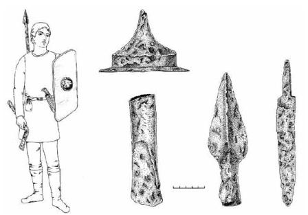 IIIB tipo antskydžio ir ginklų nešiosena pagal Dauglaukio 19 kapo medžiagą: 1. Geležinis IIIB tipo antskydis; 2. Geležinis įmovinis kirvis; 3. Geležinis ietigalis su iškyla per vidurį; 4. Geležinis įtveriamasis peilis (E. Jovaišos tyrinėjimai, 1984, dail. S. Mikšaitė)