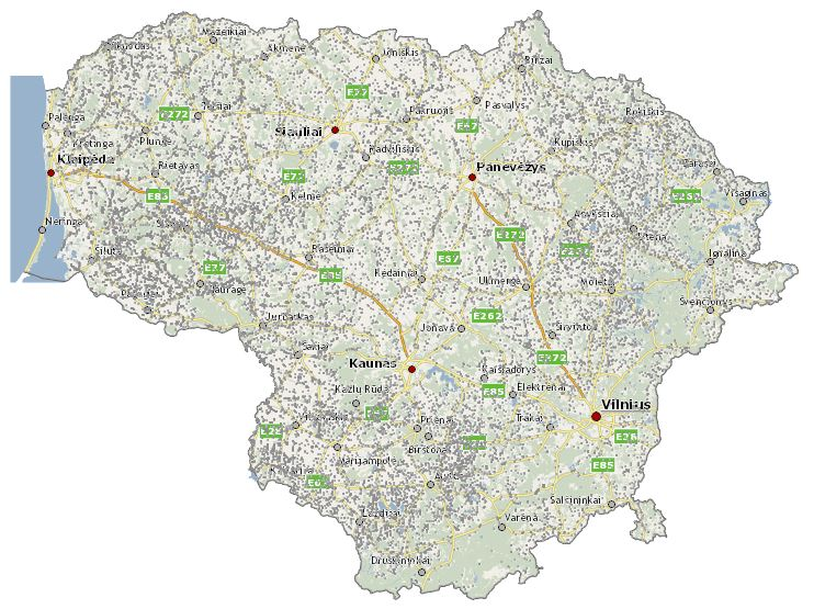 Gandrų lizdų žemėlapis, alkas.lt pav.