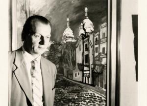 """V.Kasiulis prie paveikslo """"Gatvelė Monmartre Paryžiuje"""""""