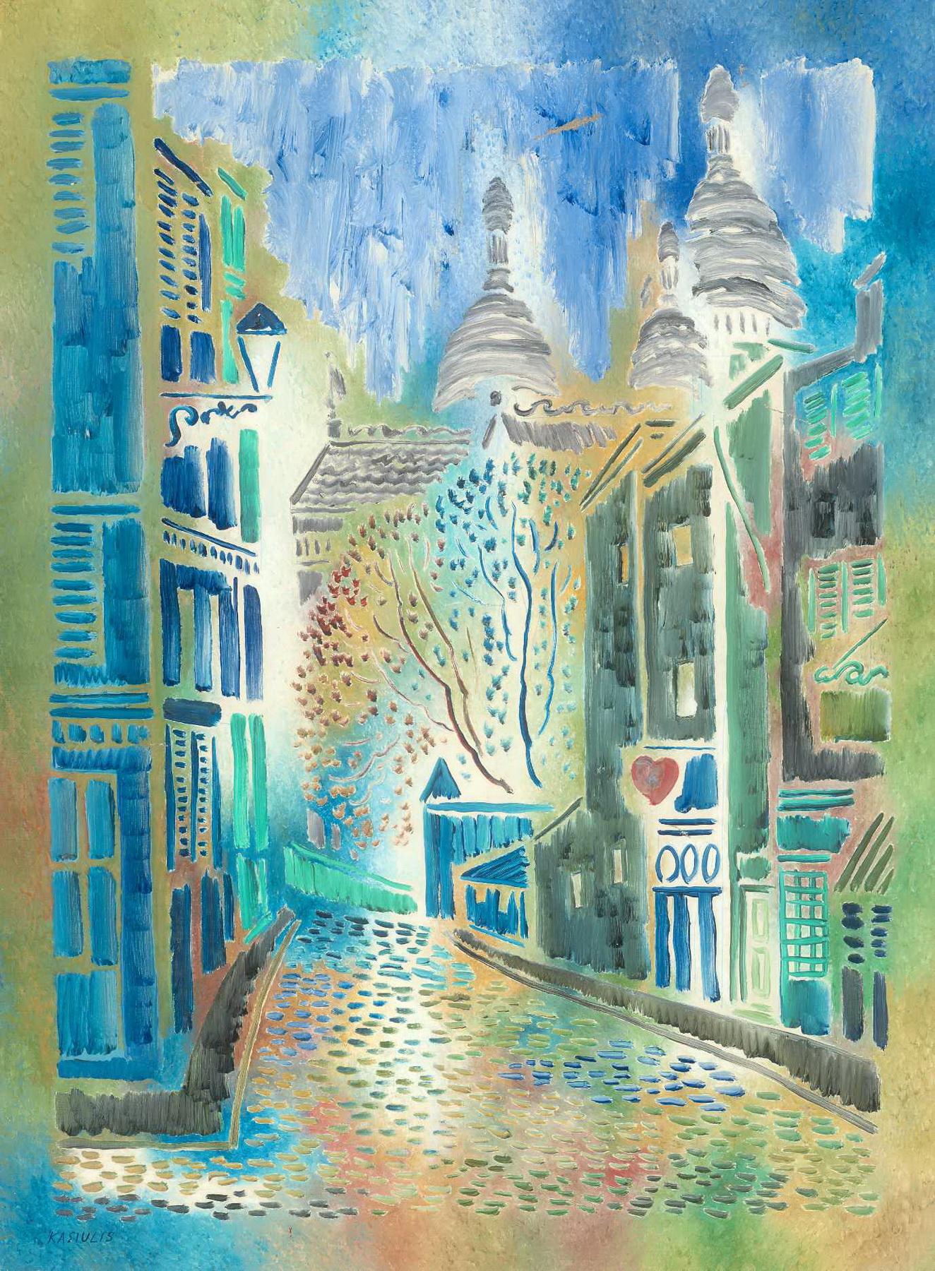 V. Kasiulis. Gatvelė Monmartre Paryžiuje. XX a. 7 deš.