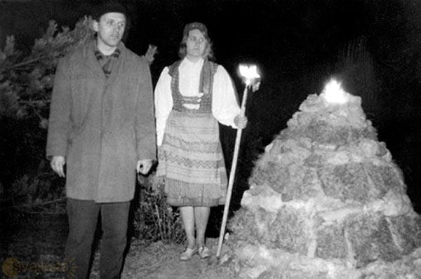 Romuvos įkūrėjas Jonas Trinkūnas Rasos šventėje Kernavėje 1967 m.