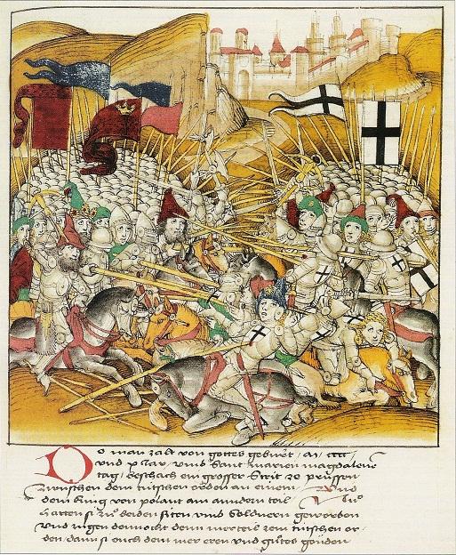 Žalgirio mūšis. Dieboldo Šilingo (Diebold Schilling) Jaunesniojo Liucernos kronika, 1513 m.