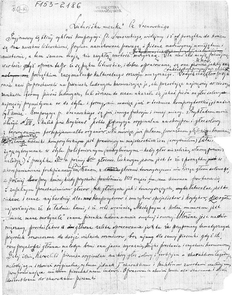 M.K.Čiurlionio rankraštis
