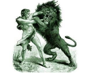 Galiūnas ir liūtas. Nežinomo XIX a. dailininko graviūra.