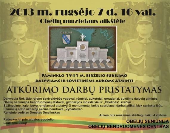 Obelių paminklo atstatymo plakatas