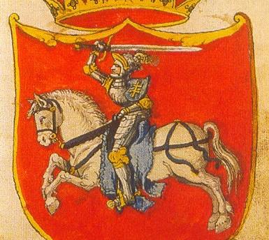 LDK herbas. Pieštas apie 1555 m. Vilniaus kapitulos aplinkoje. Saugomas Paryžiuje Arsenalo b-koje