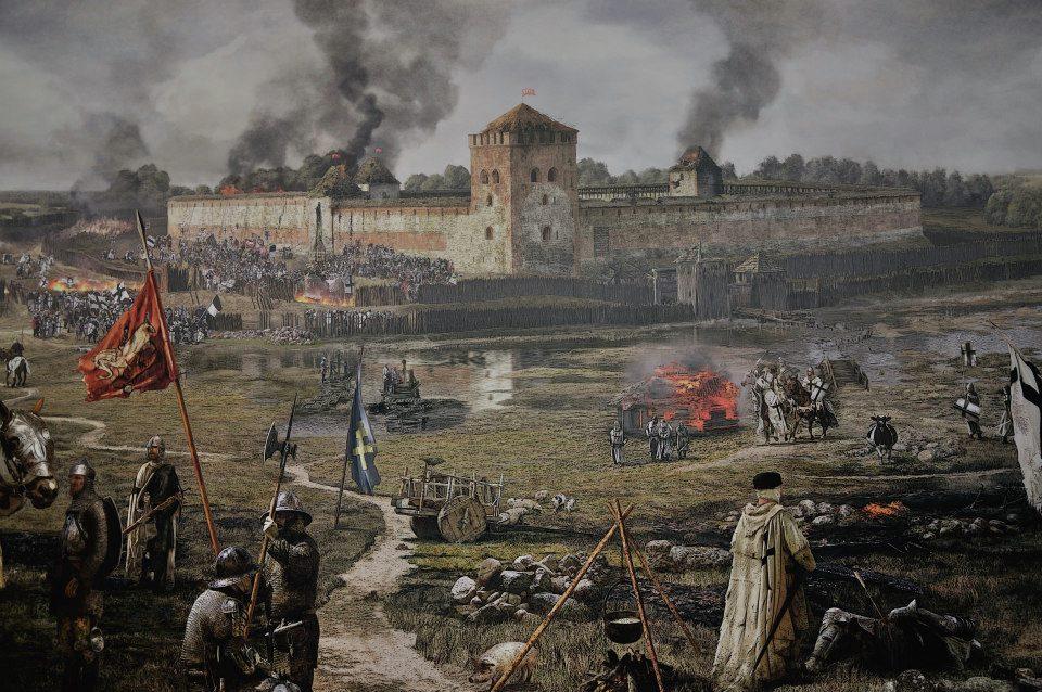 Paveikslas vaizduojantis 1402 metais kryžiuočių padegtą Medininkų pilį