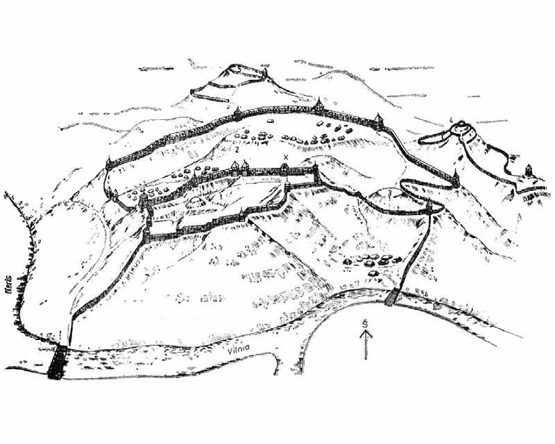 Taip XI-XII a.a. galėjo atrodyti vadinamoji Kreivoji (ar Krivių?) pilis ant Plikojo ir kitų kalvų. Sigito Lasavicko piešinys