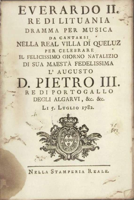 "Operą ""Everardas II – Lietuvos karalius"", 1782 m."