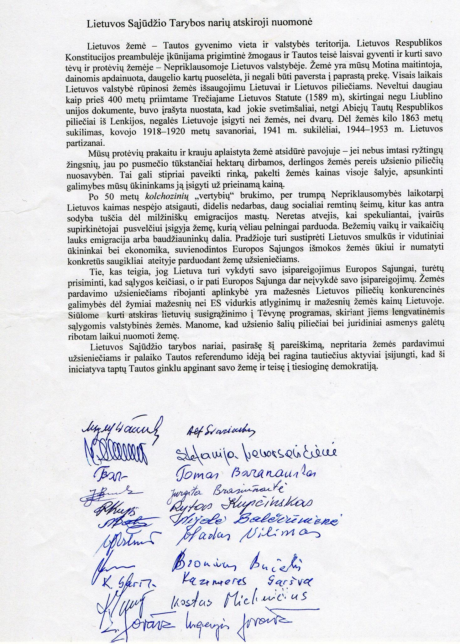 Lietuvos Sąjūdžio Tarybos narių atskiroji nuomonė