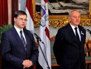 Latvijos ministras pirmininkas Valdis Dombrovskis su Latvijos prezidentu Andriu Berziniu | president.lt nuotr.