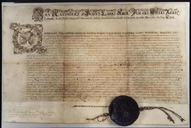 Knygrišystė. Karaliaus Jono Kazimiero 1664 m. privilegija