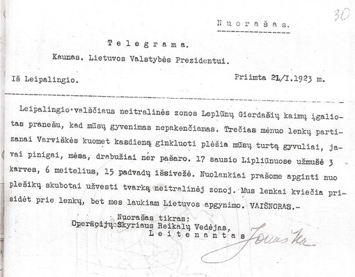 """Leipalingio gyventojo Vaišnoro telegrama Lietuvos Prezidentui apie lenkų """"partizanų"""" piktadarystes, 1923-03-21   LCVA nuotr."""