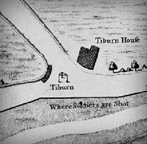 Angliškas 1746 m. Taiberno vietovės žemėlapis. Kartuvės stovi kryžkelėje