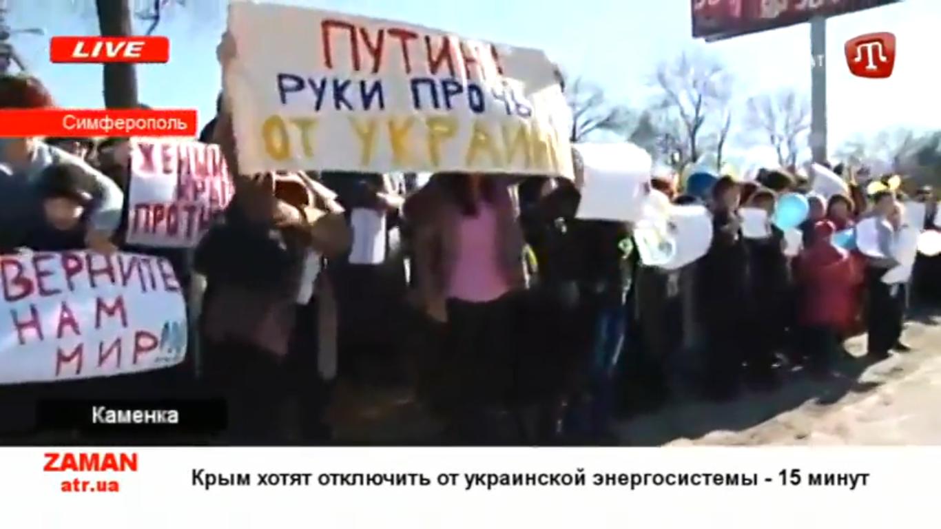 Simferopolio moterys sukilo prieš Putino agresiją