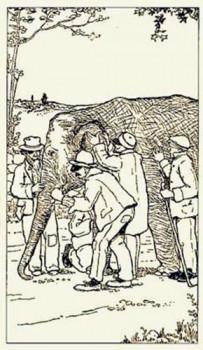 Aklieji ir dramblys | XX a. pradžios iliustracija