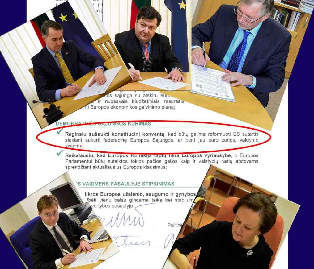 Europos federalistai iš LRLS, TS-LKD, LSDP | Alkas.lt koliažas Europos federalistai iš LRLS, TS-LKD ir LSDP pasirašo prieš Lietuvos valstybę nukreiptus pasižadėjimus | Alkas.lt koliažas