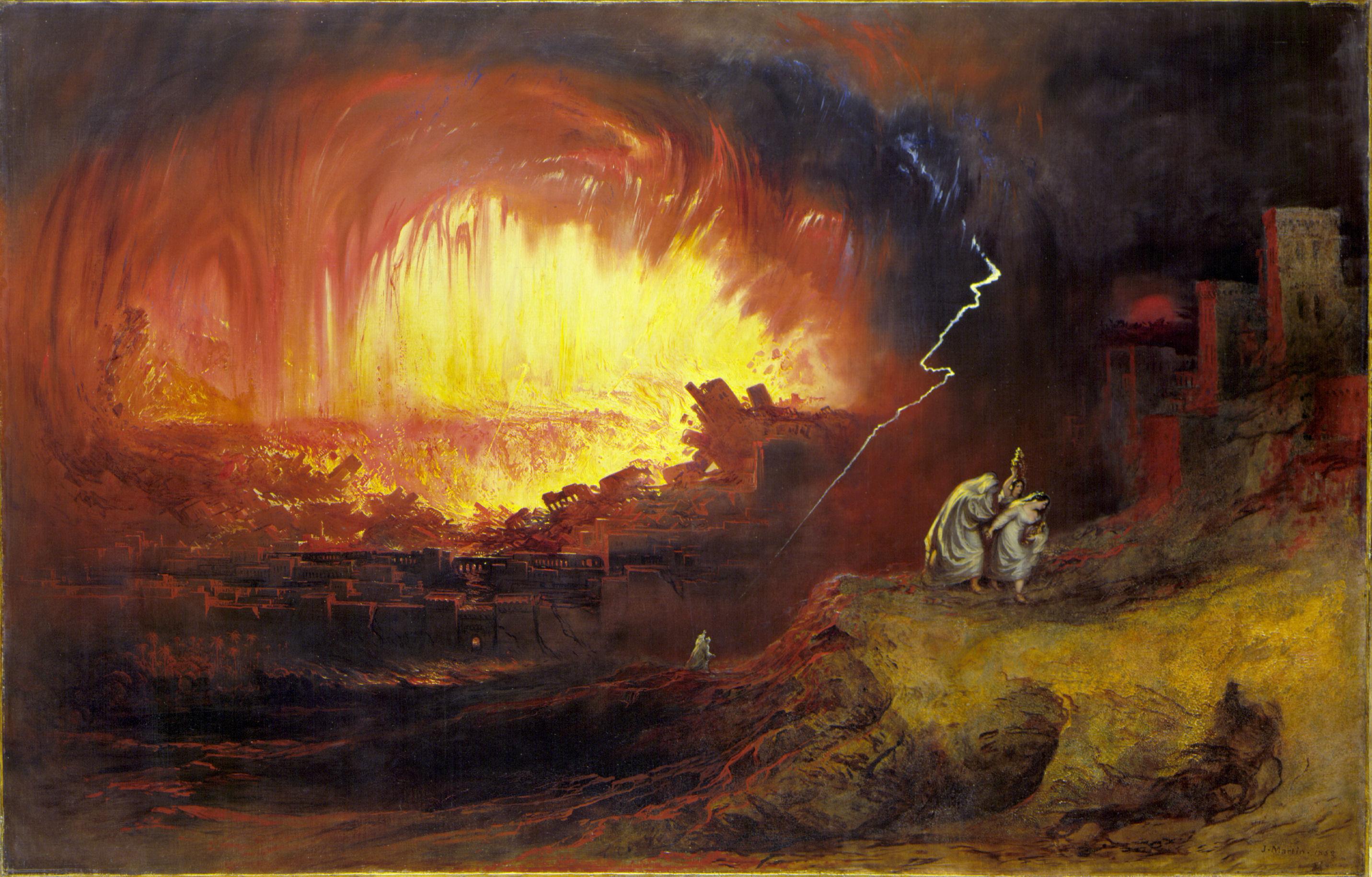Sodomos ir Gomoros sunaikinimas | Dail. John Martin, 1852 m.