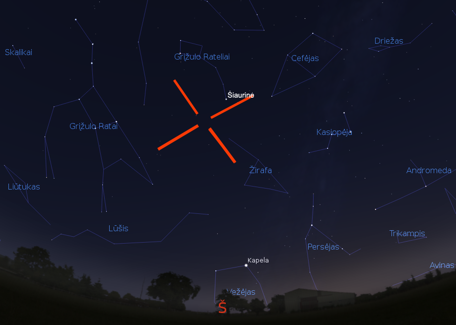 """Kamelopordalidų meteorų srautas, gegužės-24 d. 3val. (piešinys sukurtas """"Stellarium"""" programa)."""