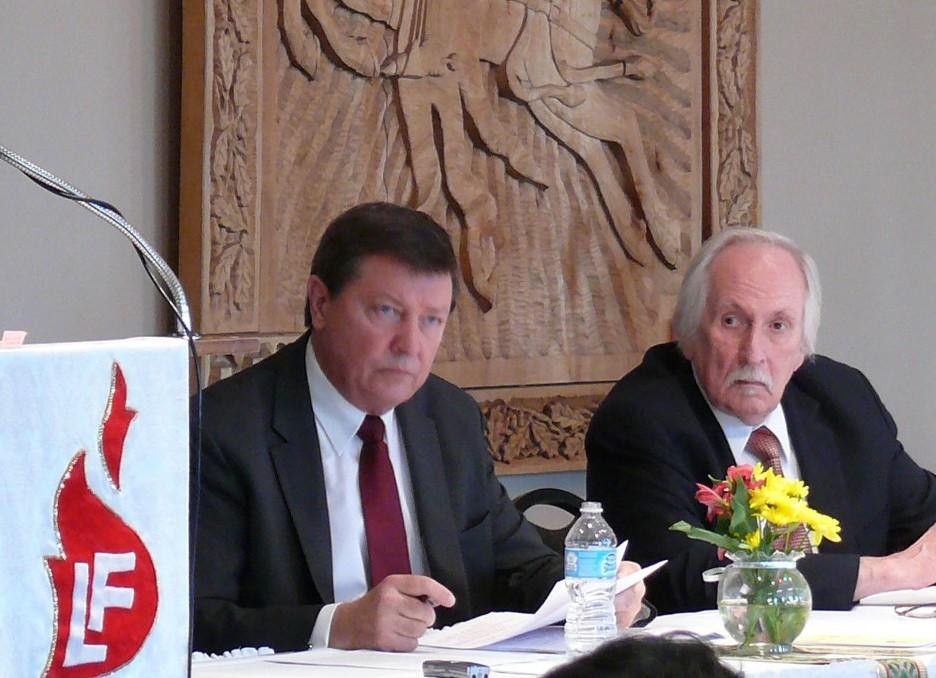 LF Tarybos pirmininkas Marius Kasniūnas (kairėje), LF Valdybos pirmininkas – Arvydas Tamulis (dešinėje) | lithuanianfoundation.org nuotr.