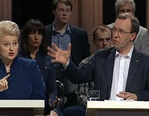 Dalia Grybauskaitė ir Naglis Puteikis LRT debatuose | Alkas.lt nuotr.
