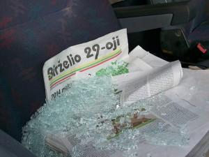 Raudonėje apšaudytas ir apvogtas automobilis, reklamavęs referendumą |  Referendumo rengėjų nuotr.