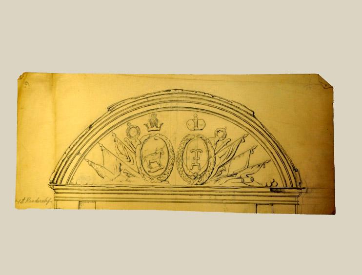 A. Randuralof Namo Tilto g. 2 frontono piešinys XX a. I p. Popierius, paprastas pieštukas, tušas, 22,6 x 51, 7 cm, Valdovų rūmų muziejus
