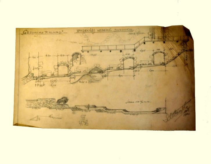"""Zigmuntas Mečislovas Čaikovskis (1887-1950) """"Gedimino kalnas"""" 1941 m. Popierius, paprastas pieštukas, 27,2 x 47 cm, Valdovų rūmų muziejus"""