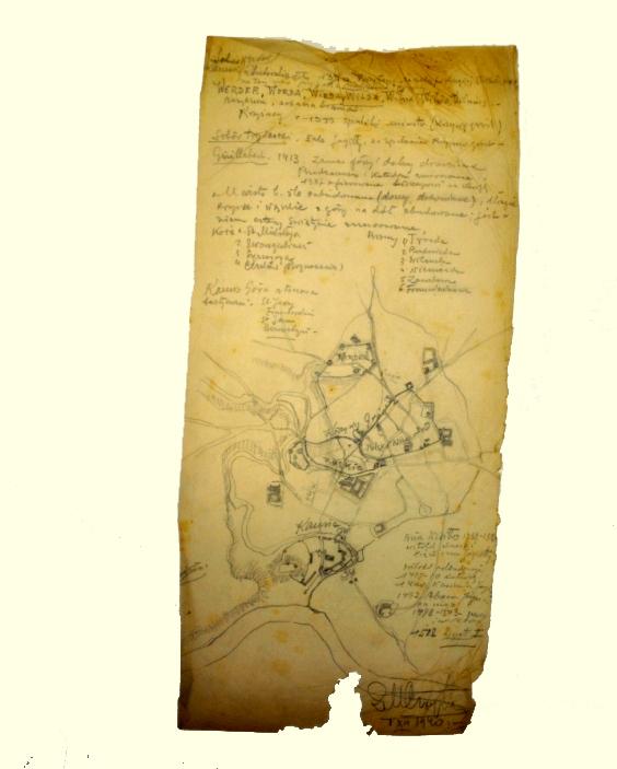Zigmuntas Mečislovas Čaikovskis (1887-1950) Vilniaus senamiesčio planas 1940 m. gruodžio 1 d. Popierius, paprastas pieštukas, 49,8 x 23,5 cm, Valdovų rūmų muziejus