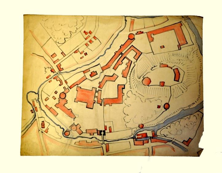 Nežinomas autorius Vilniaus pilių planas XX a. I p. Popierius, paprastas pieštukas, tušas, akvarelė, 44 x 56,7 cm, Valdovų rūmų muziejus