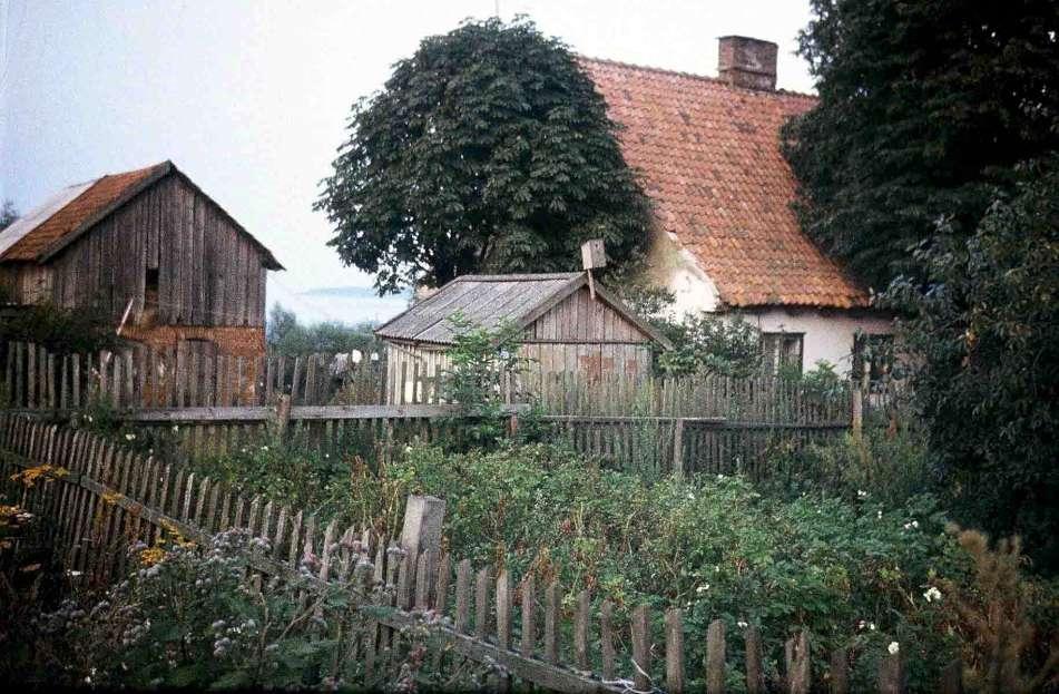 Rendės kaimo tradicinis namas, ūkinis pastatas, pasšiūrė, aptvertas daržas. 1990 m. rugpjūtis |  M. Purvino nuotr.