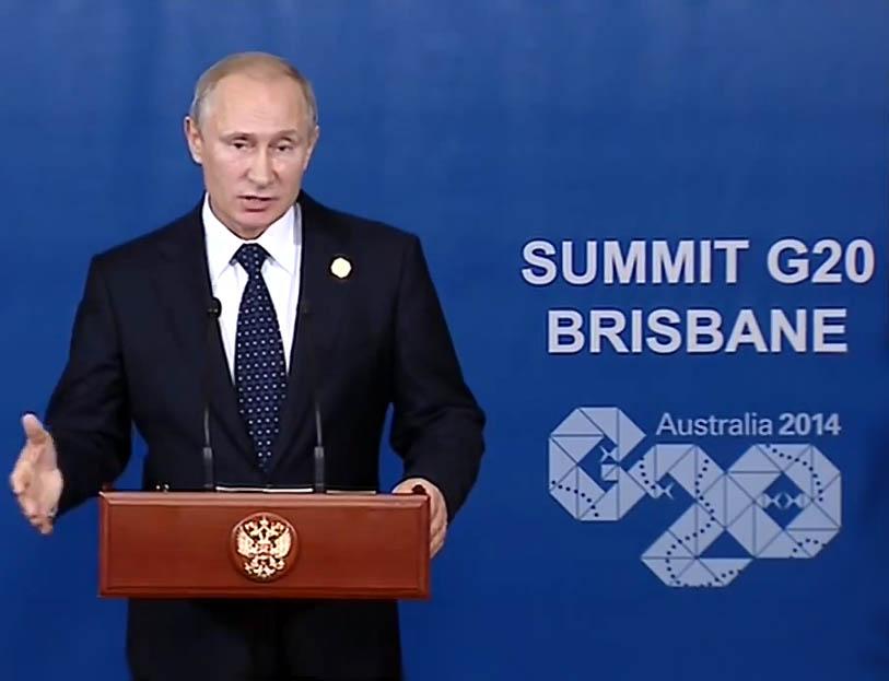 Vladimiras Putinas kalba spaudos konferencijoje G20 susitikime Australijoje | stop kadras