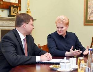 V. Dombrovskis ir D. Grybauskaitė   lrp.lt, R. Dačkaus nuotr.