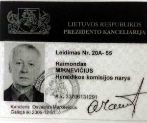 Raimondas Miknevičius - heraldikos komisijos narys. Nuolatinis leidimas į Prezidentūra | R. Kalinauskaitės nuotr.