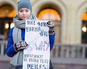 Norvegijos lietuviai Oslo centre protestavo prieš Barnevernet sprendimus | propatria.lt, P. Stanio nuotr.