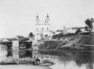 Šv. Rapolo bažnyčia ir Žaliasis tiltas, apie 1892 m
