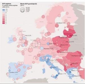 Europos BVP augimas 2003 – 2013 metų laikotarpiu (rausvesnės spalvos žymi didesnį augimą, mėlynos – mažėjimą)