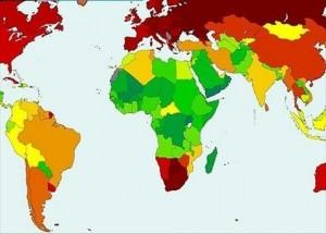 Pasaulio gimstamumo žemėlapis (rausvesnės spalvos žymi mažesnį gimstamumą)