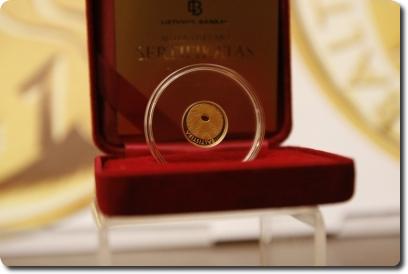 Aukso moneta, skirta baltistikai | G. Savicko nuotr.