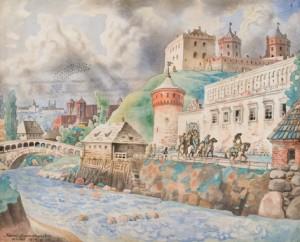 Kamarausko_akvarele_Vilniaus Gedimino pilis XVI amziuje. Fotografas Antanas Luksenas
