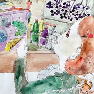 Gaiva Paprastoji. Radiniai. Akvarelė, plunksna ir tušas. 46x33.