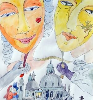 Gaiva Paprastoji. Venecija. Akvarelė, plunksna, tušas, 46x33.