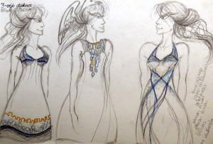 Eskizas Vėjo dukrų suknelėms. Nuotrauka iš asmeninio archyvo.