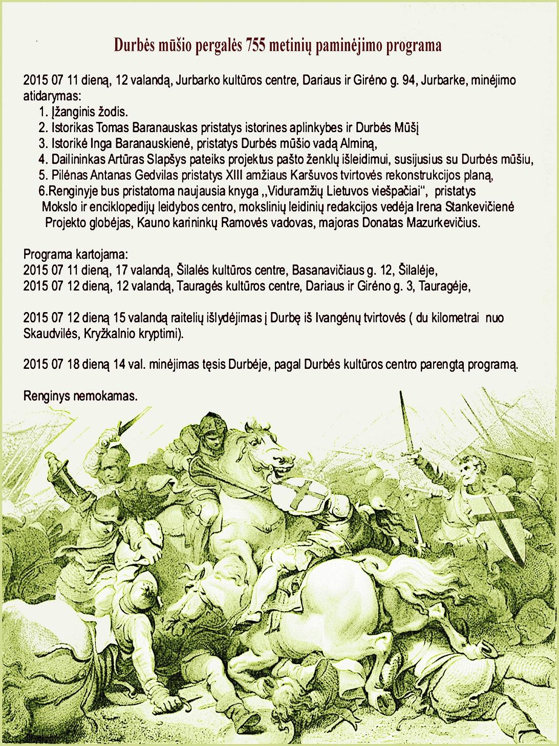Durbės mūšio 755 metų sukakties minėjimo programa