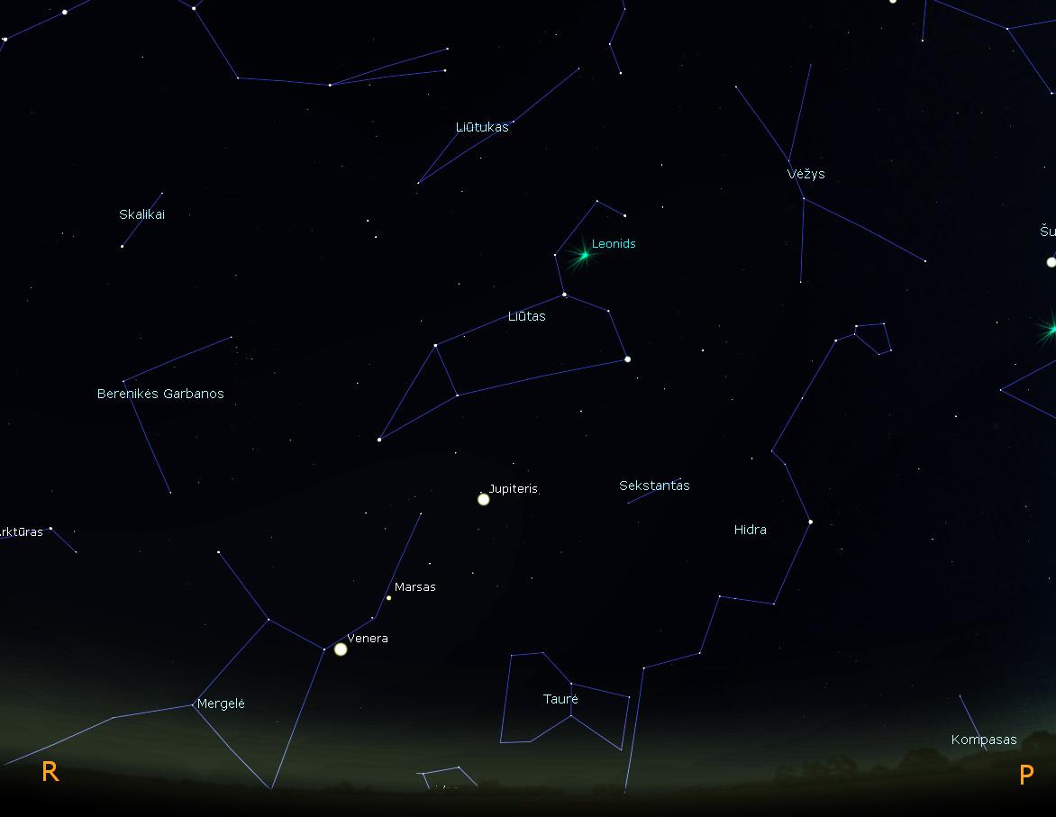 Leonidų meteorų strėlės kryžiuojasi Liūto žvaigždyne | vaizdas sukurtas stellarium programa