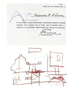 5 pav. S. Lorentzui adresuotas kvietimas į Istorinės-meninės komisijos posėdį 1931 m. rugsėjo 22 d. ir kitoje jo pusėje esantis piešinys (LCVA, f. 51 ap. 10, b. 1198, lp. 104)